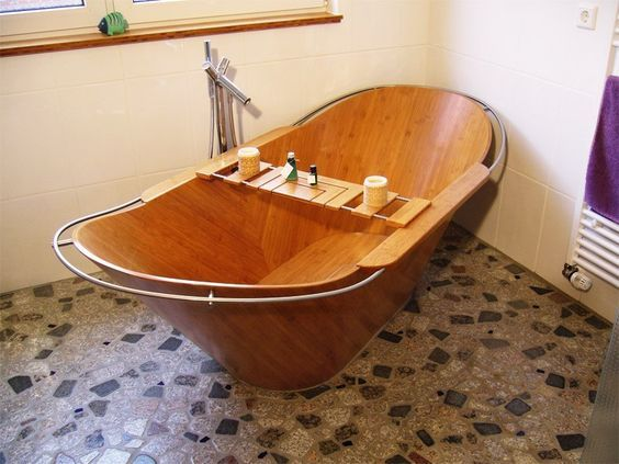 Niewendick's two-person Bamwan wooden bathtub is more European than eastern style, but would still be equally relaxing for a good soak. The design is ergonomic and the stainless steel railing helps bathers enter and exit safely.