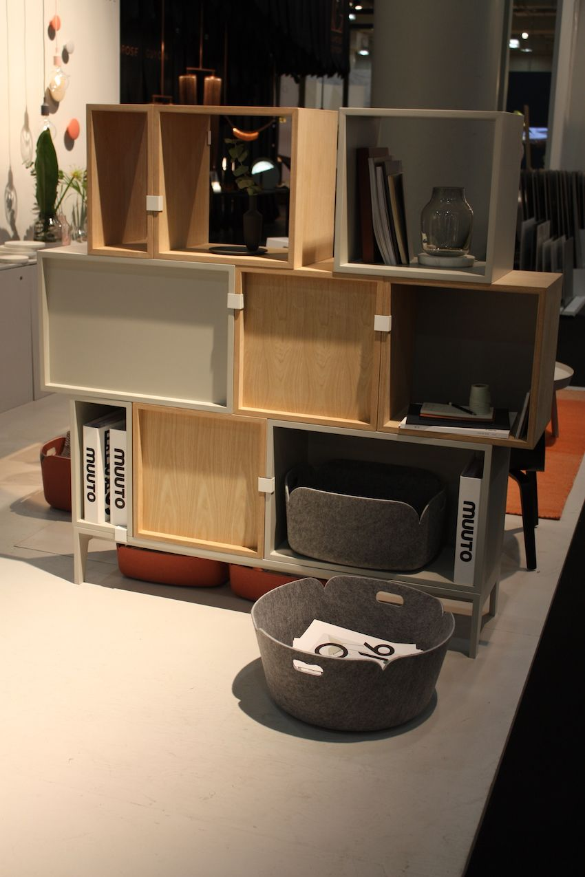 Muuto's modular Scandinavian storage is versatile and interesting thanks to the mix of finishes and sizes.