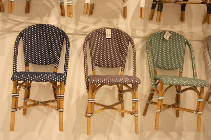 Sika's bistro style Sofie chairs are moved, yet from a distance look like they're polka-dotted. These would be so fun for an intimate dining space that's cozy with a touch of playfulness. The company's Affäire chairs -- including the Sofie -- are meant for covered areas outside in summertime and for indoor use. The can withstand a rain show, but not constant rain, and cannot be left outdoors in winter.