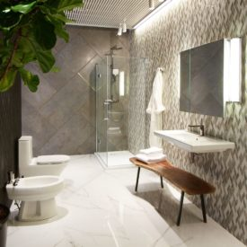 Modern bathroom design with marble floor and walk in shower