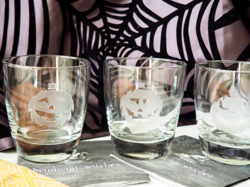 Easy Jack O'Lantern Cocktail Glass DIY for Halloween