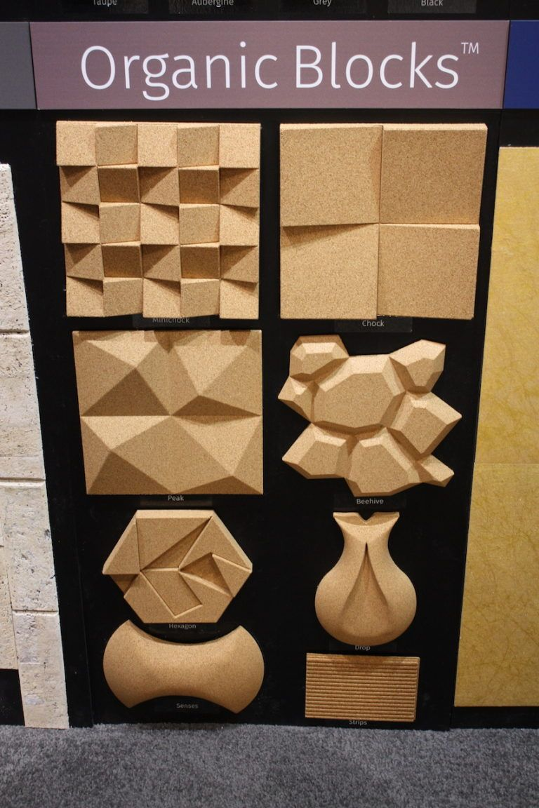 Plain or colored, the recycled cork material is a gorgeous textural option for walls.