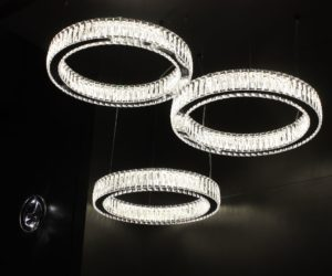 Swarovski crystals are set in a steel base in these glittering fixtures.