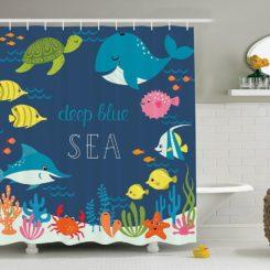Deep sea blue shower curtain for kids