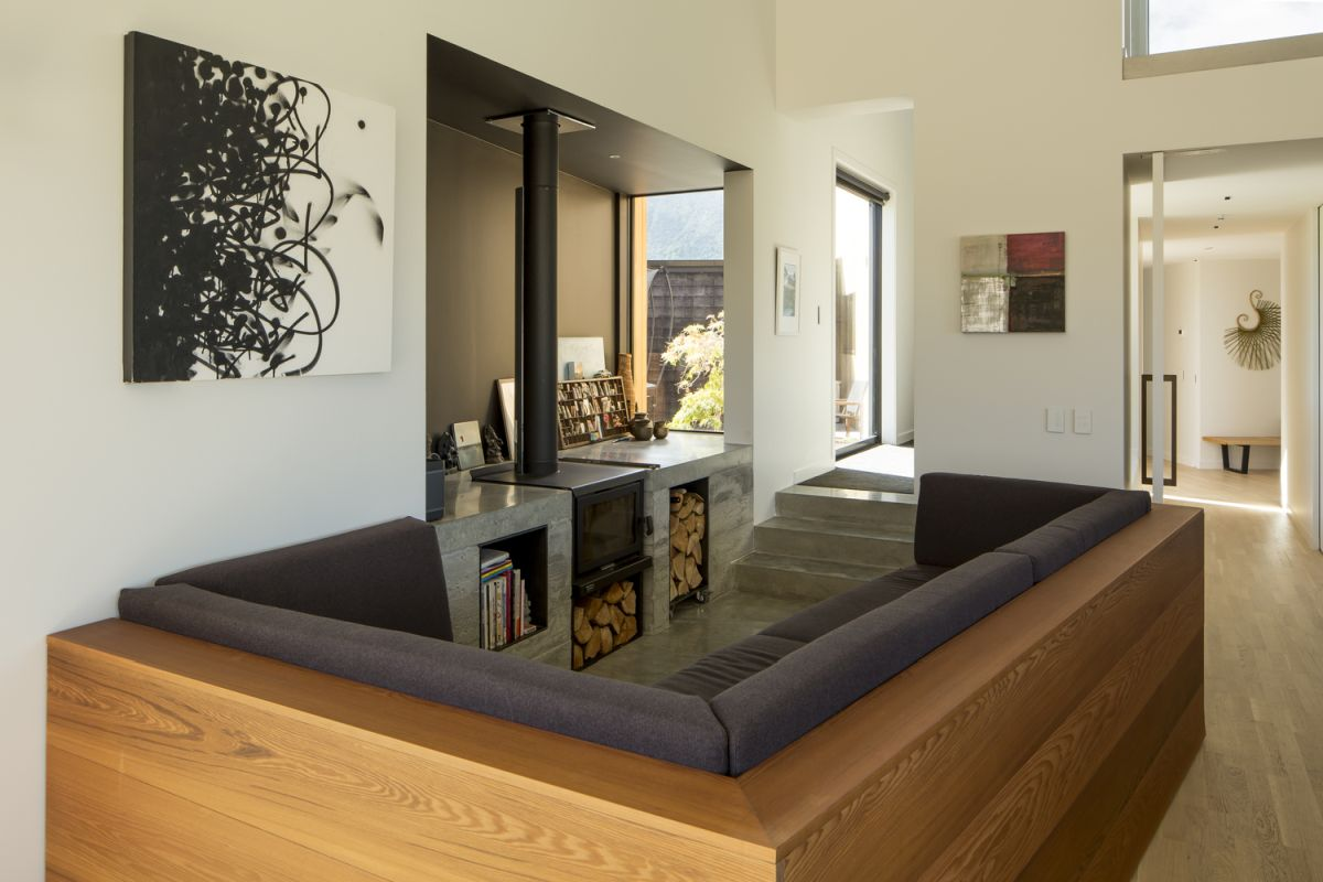 The two primary materials featured throughout the house are concrete and cedar wood