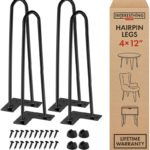 12 Inch Hairpin Legs – 4 Easy to Install Metal Legs for Furniture