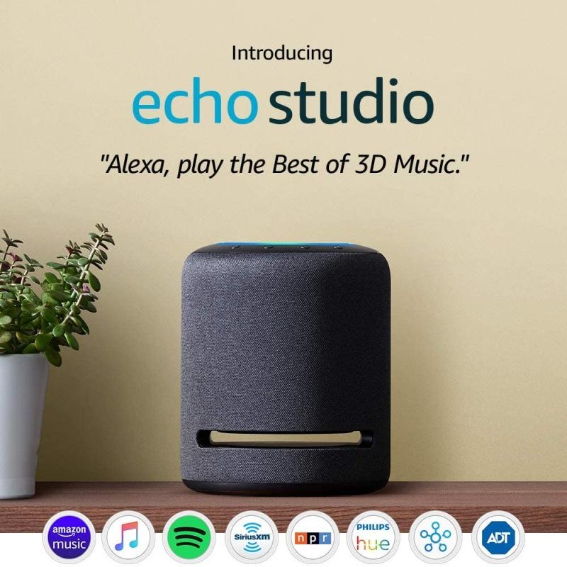 Echo Studio – High-fidelity smart speaker with Philips Hue Bulbs