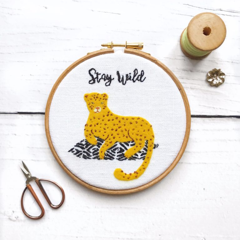 Stay Wild Embroidery Hoop – a Free Pattern